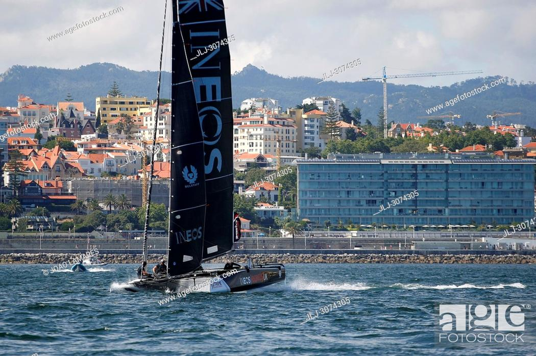 Stock Photo: Sailing: Ineos Rebels UK with Will Aloway as a Skipper. Extremesailing round 4 at Baia de Cascais, Cascais, Portugal..