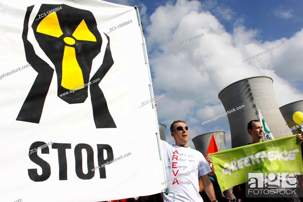 Stock Photo: Protest against Nuclear power station, Ain, Bugey, Saint-Vulbas, Rhône-Alpes, France.