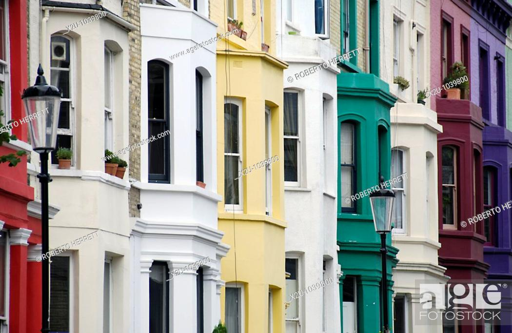 Stock Photo: Colourful terraced houses in Notting Hill, London, England.
