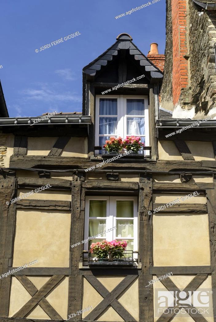 Stock Photo: Old house in Josselin, Morbihan, Brittany, France, Europe.