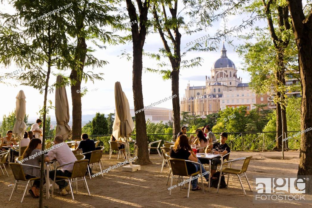 Stock Photo: Terrace at Las Vistillas, Madrid, Spain.