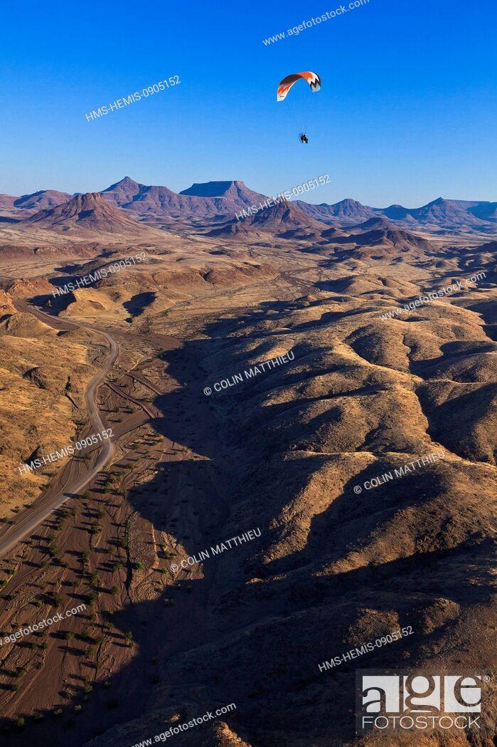 Stock Photo: Namibia, Damaraland, Huab River Valley, paramotor (aerial view).