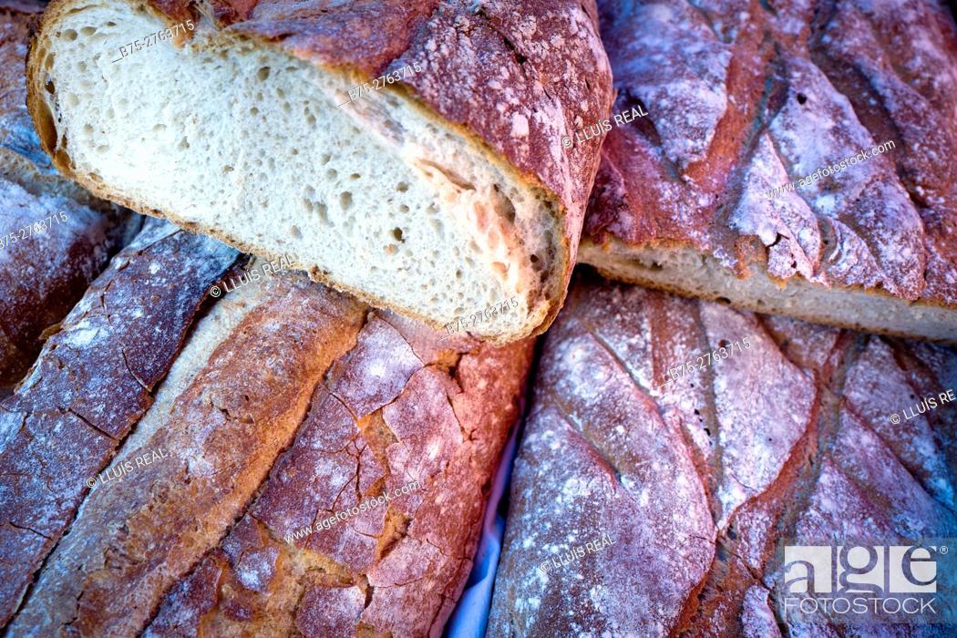 Stock Photo: Typical Galician bread in market. Padrón, Province of La Coruña, Galicia, Spain.