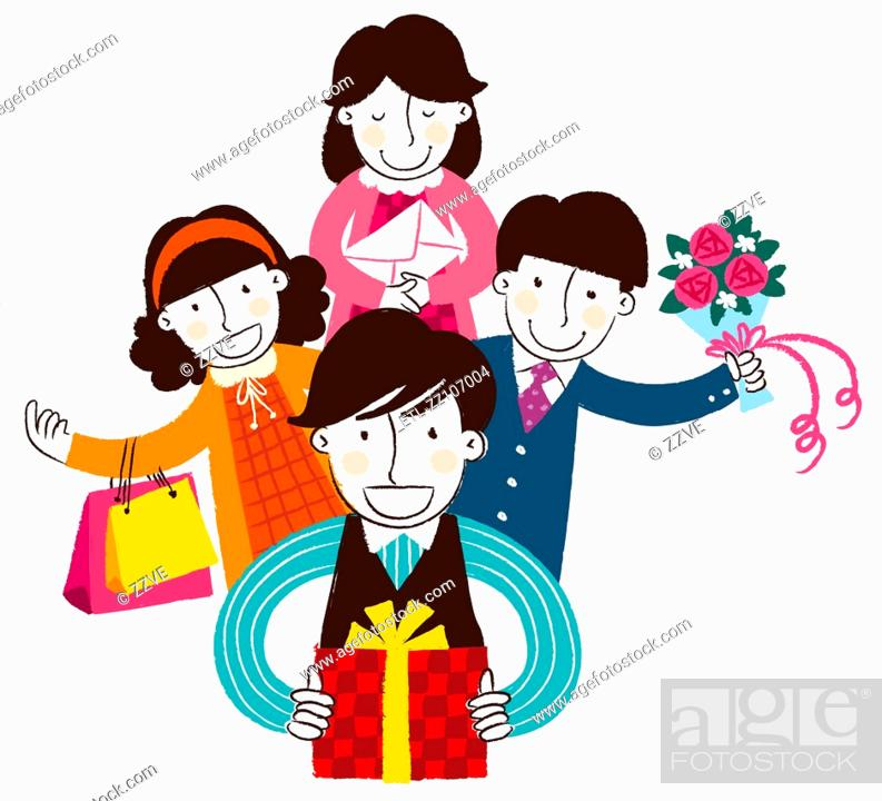 Stock Photo: Group of people holding gifts and flowers.