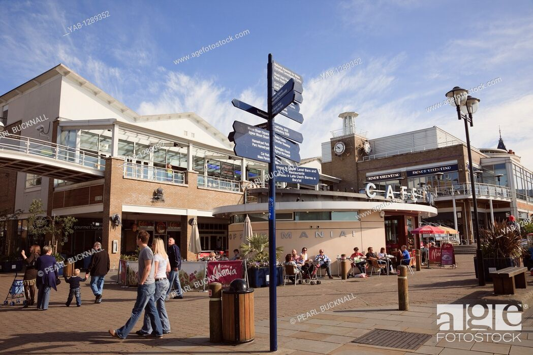 Stock Photo: Cardiff Bay Bae Caerdydd, Glamorgan, South Wales, UK, Europe  Mermaid Quay cafes and shops on the waterfront.