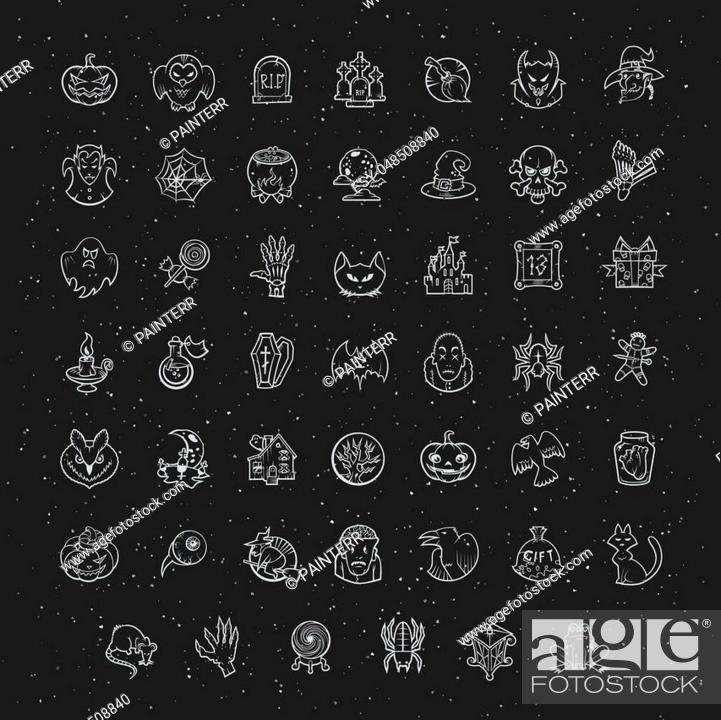 Stock Vector: Thin line white Halloween icons set. Vector collection.