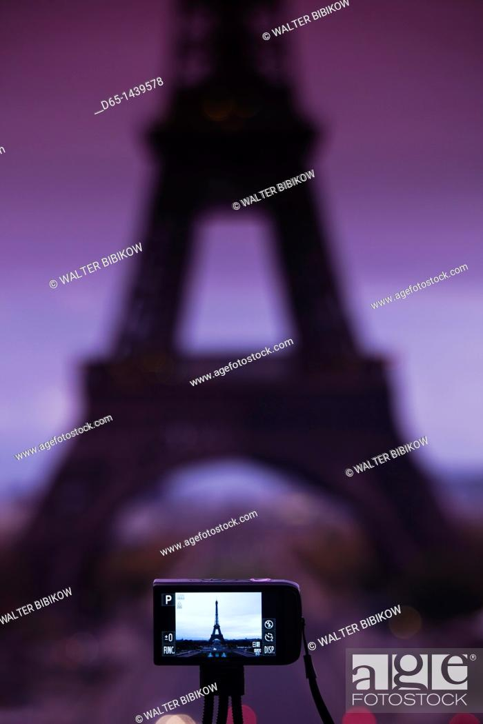 Stock Photo: France, Paris, Eiffel Tower photographed with digital camera, dawn.