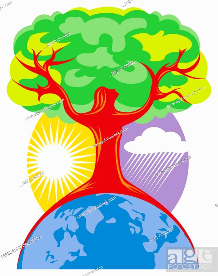 Stock Photo: A tree shaped like a woman symbolizing Earth Day.