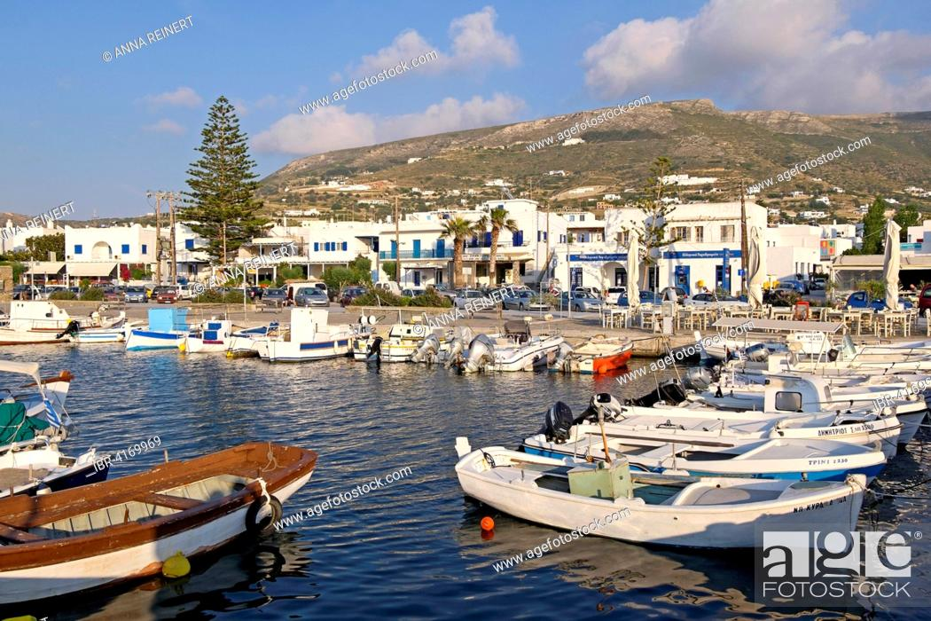 Stock Photo: Boats in the harbour of Parikia, Paros, Cyclades, Greece.