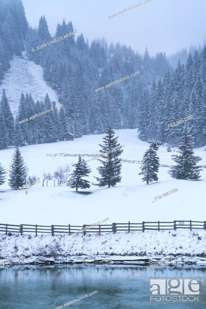 Stock Photo: Snowing in autumn, Corvara in Badia, Dolomites, Unesco World Heritage Site, Italy, Europe.