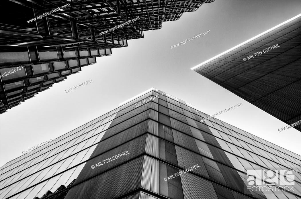 Stock Photo: Black and white image of modern architecture.