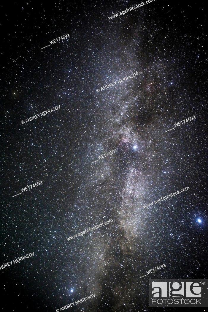 Stock Photo: Night starry sky, constellation Milky Way. Ukraine, Eastern Europe.