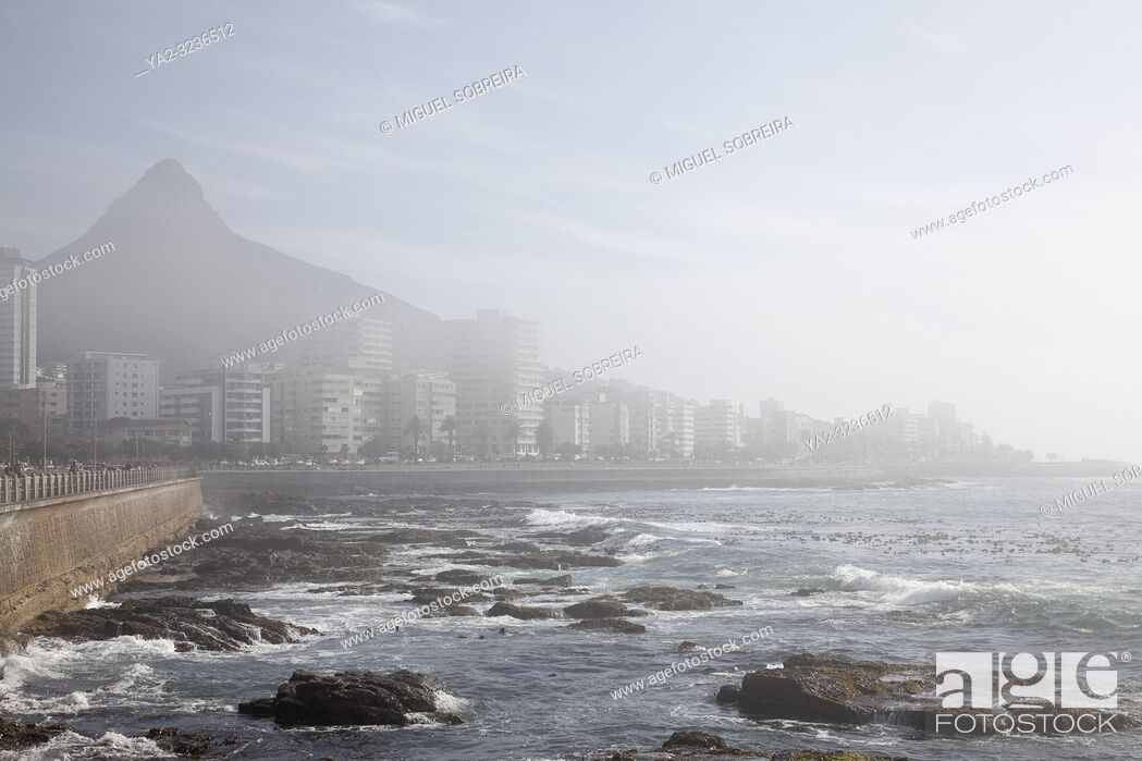 Stock Photo: Apartments Along Sea Point Promenade in Light Fog - Cape Town , South Africa.