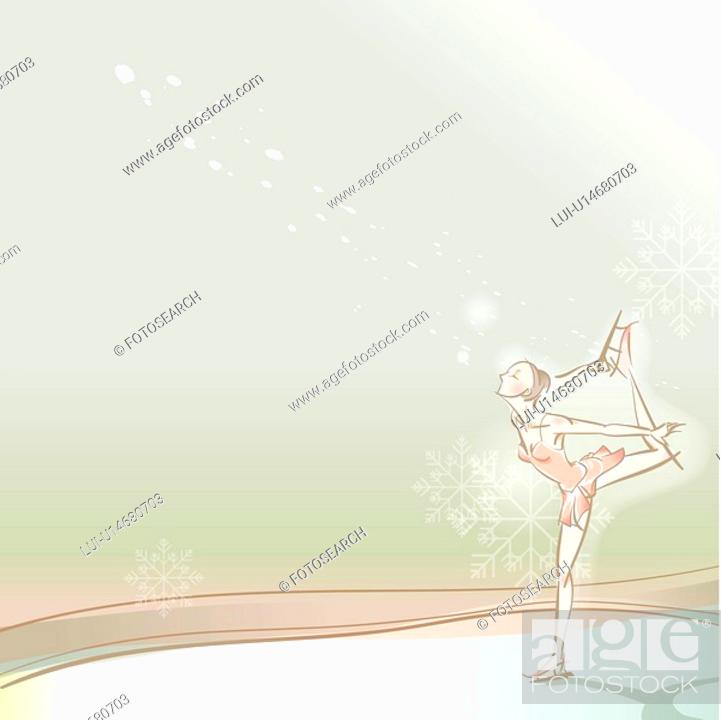 Stock Photo: iceskating, winter, ice link, snowflake, snow, season.