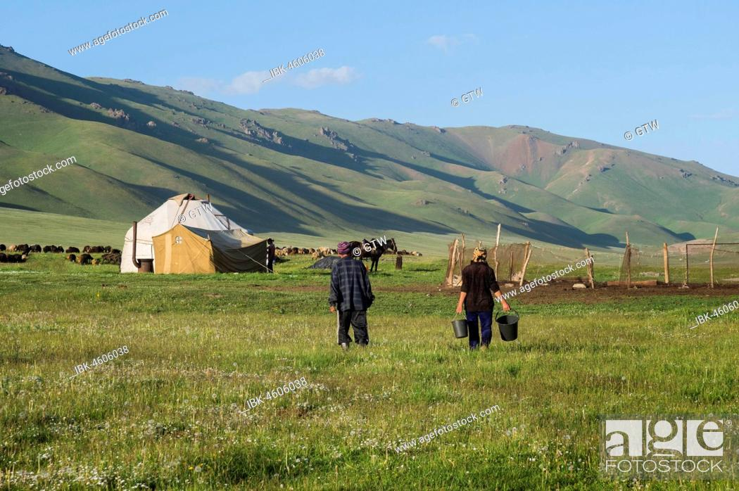 Stock Photo: Nomad yurt camp, Song Kol Lake, Naryn province, Kyrgyzstan, Central Asia.
