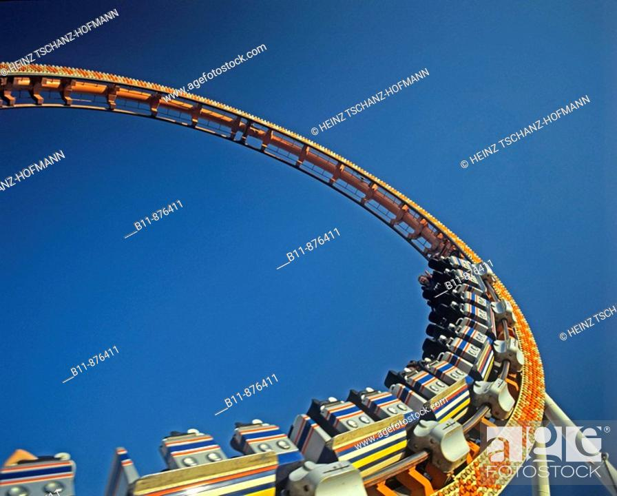 Stock Photo: looping at a roller coaster.