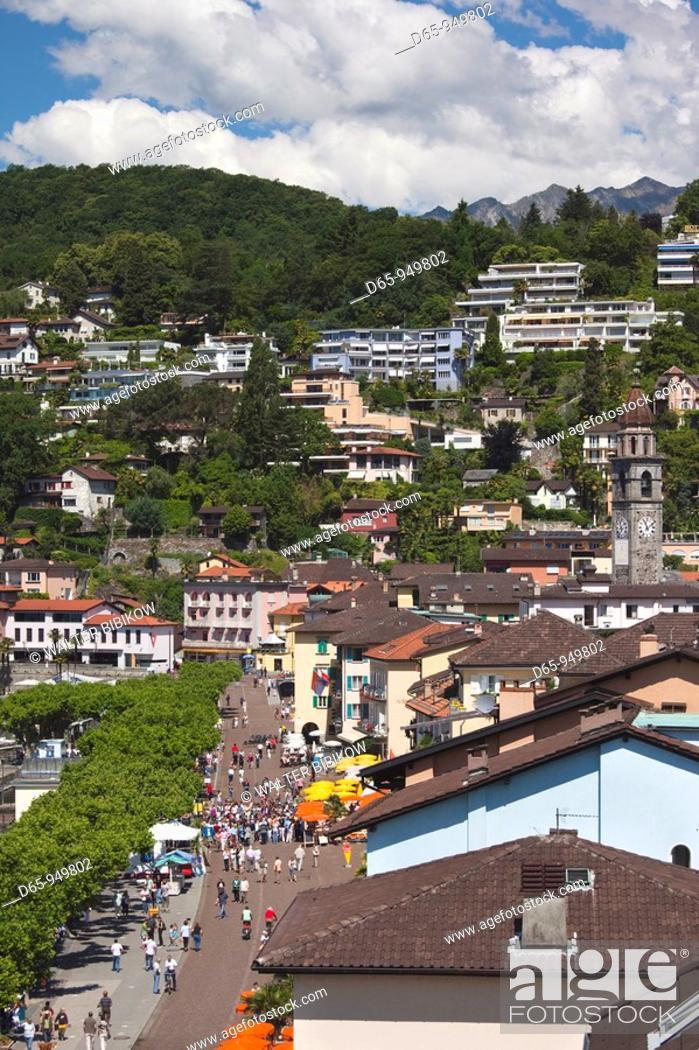 Stock Photo: Switzerland, Ticino, Lake Maggiore, Ascona, high angle view of Piazza Motta.