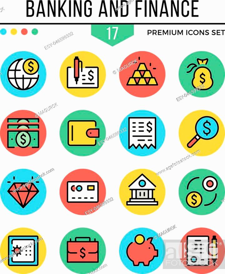 Stock Vector: Banking and finance icons. Modern thin line icons set. Premium quality. Outline symbols, graphic elements, concepts, flat line icons for web design, mobile apps.