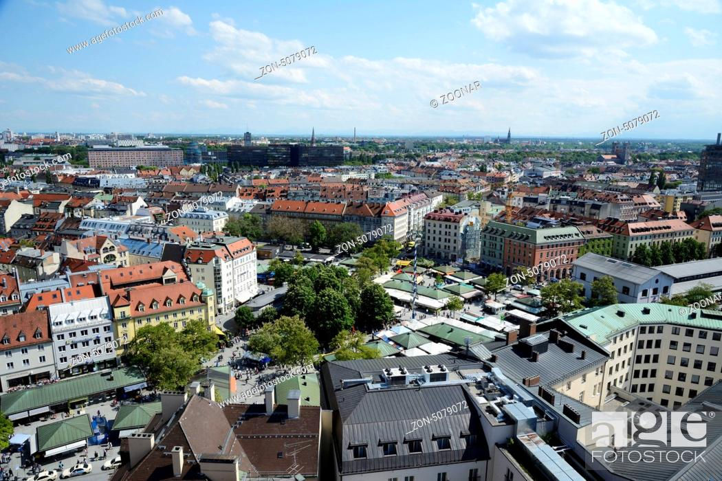 Stock Photo: MUNICH, GERMANY, MAY 28: Aerial view over Munich, Germany on May 28, 2013. Munich is the biggest city of Bavaria with almost 100 million visitors a year.