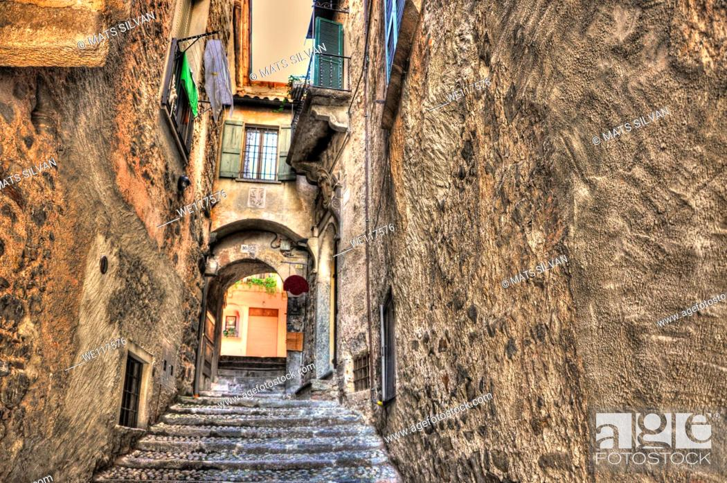 Stock Photo: Old colorful stone alley.