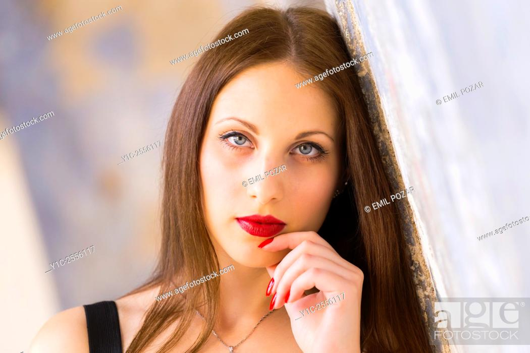 Teen girl portrait with Red lips and nails, Stock Photo, Picture And ...