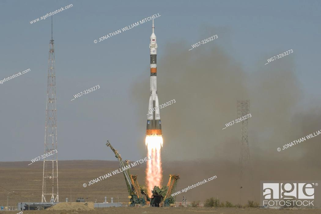 Stock Photo: BAIKONUR COSMODROME, KAZAKHSTAN - 11 Oct 2018 - ISS Expedition 57 crewmembers Alexey Ovchinin of Roscosmos and Nick Hague of NASA had to abort the launch of.