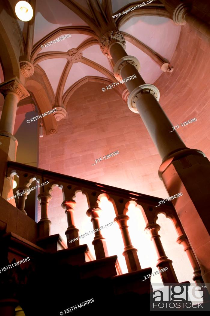 Stock Photo: Victorian Gothic architecture - Interior, Old College Aberystwyth University Wales UK.