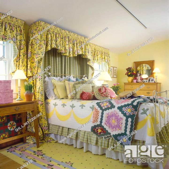 BEDROOM - Yellow walls, floral fabric valances, floor cloth ...