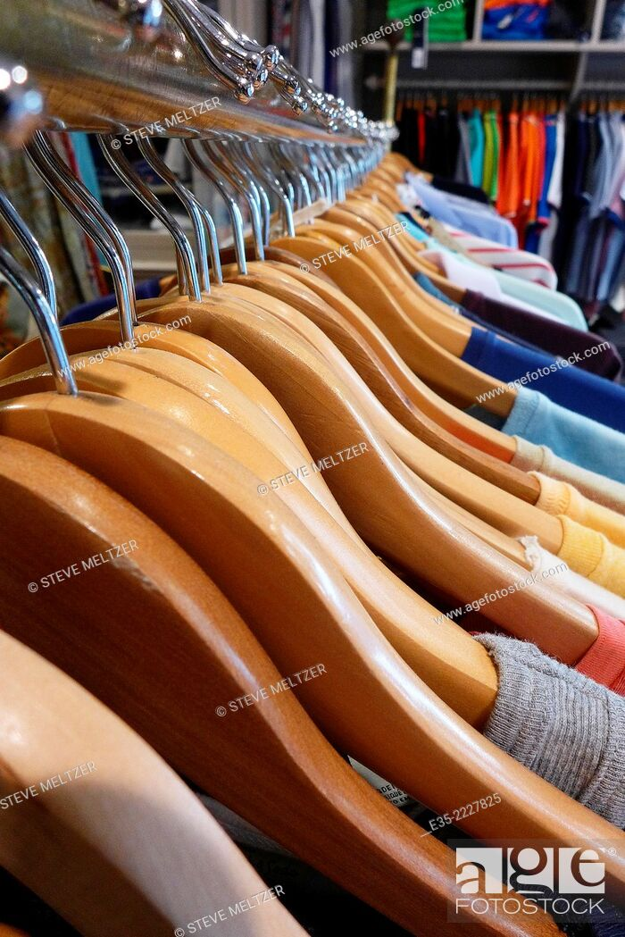 Stock Photo: Clothing store clothes rack.