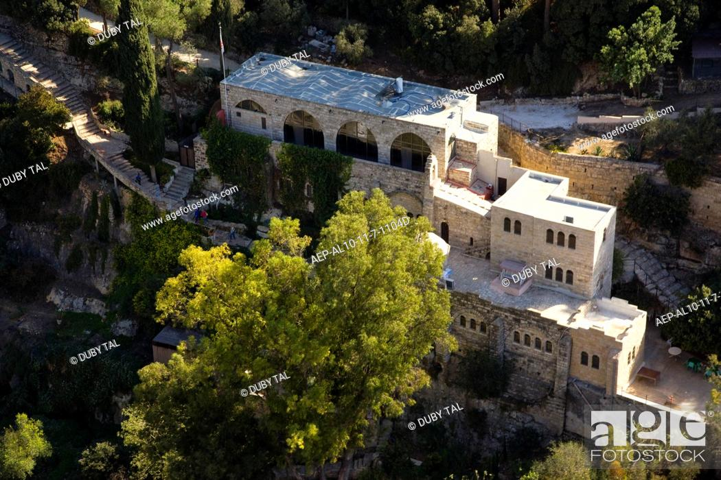 Stock Photo: An aerial photo of the Franciscan monastryof St. John in the willderness at Ain Habis.