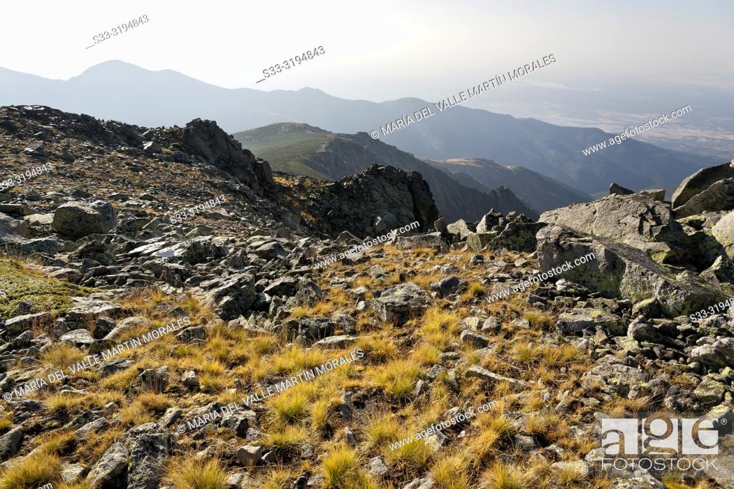 Stock Photo: Friar cliffs and Arbillas hill on the background in Sierra de Gredos. Avila. Spain.