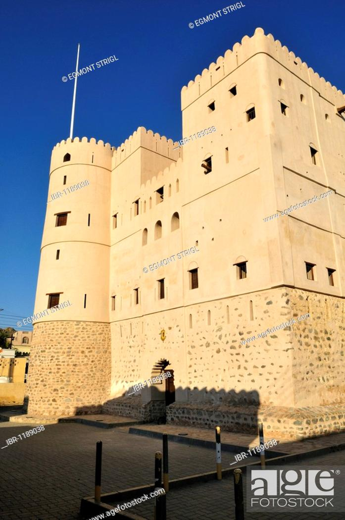 Stock Photo: Historic adobe fortification Fazah Fort or Castle, Fizm, Batinah Region, Sultanate of Oman, Arabia, Middle East.