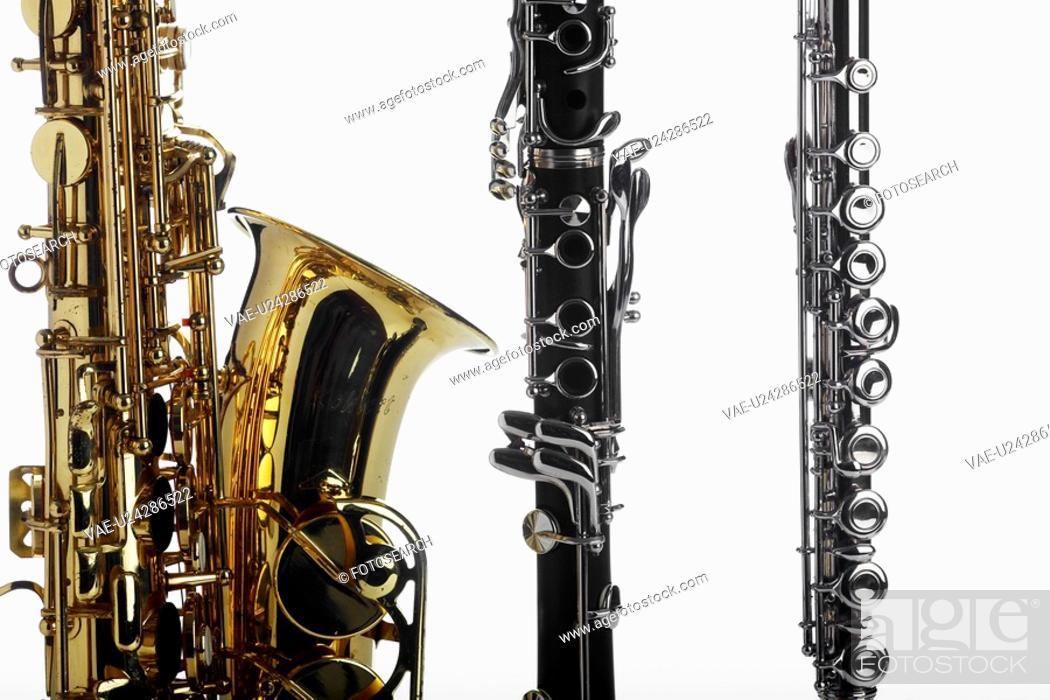 Stock Photo: Saxophone, clarinet and flute.