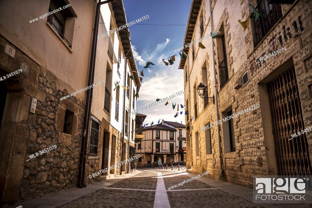 Stock Photo: Streets of Covarrubias in Burgos, Spain.