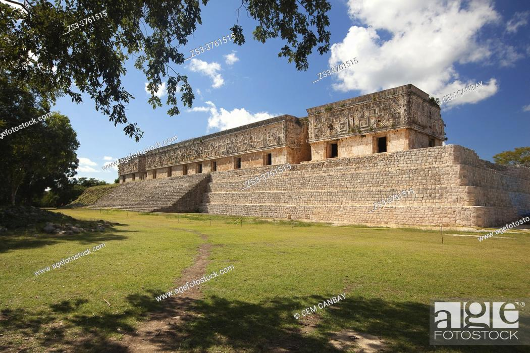 Stock Photo: View to The Governer's Palace-Palacio Del Gobernador at the Prehispanic Mayan Archaeological Site Uxmal in the Puuc Route, Merida, Yucatan State, Mexico.