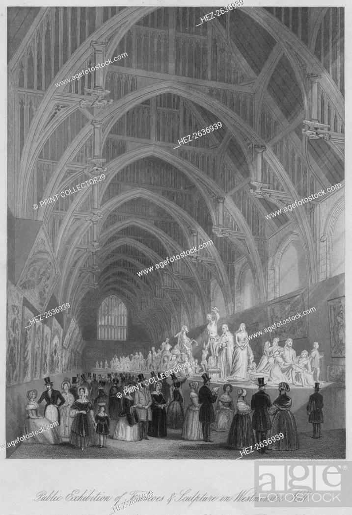 Stock Photo: 'Public Exhibition of Frescoes & Sculpture in Westminster Hall', c1841. Artist: William Radclyffe.