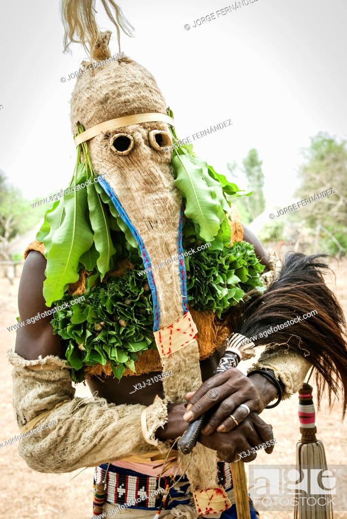 Stock Photo: Bassari celebration with dancers on traditional clothes, Ethiolo village, Bassari country, Senegal, Africa.
