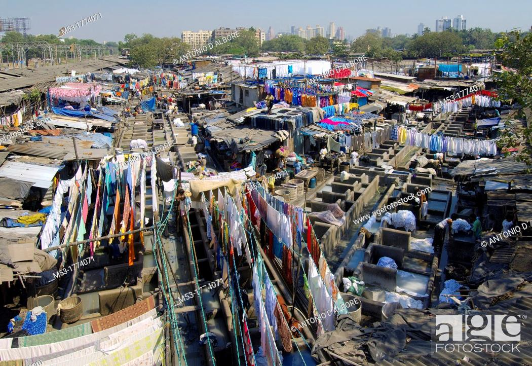 Stock Photo: aerial view of dhobighat, the world's largest outdoor laundry  Here, 4,000 members of the Dhobi caste work night and day in order to guarantee an essential.