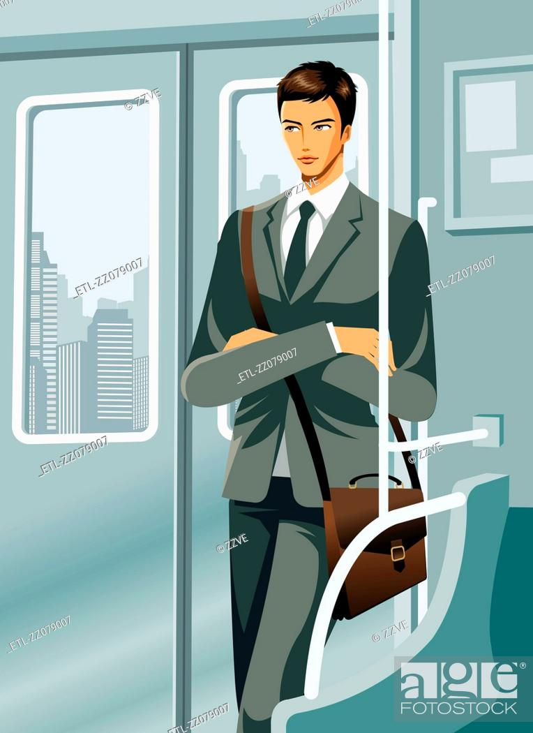 Stock Photo: Business man travelling in train.