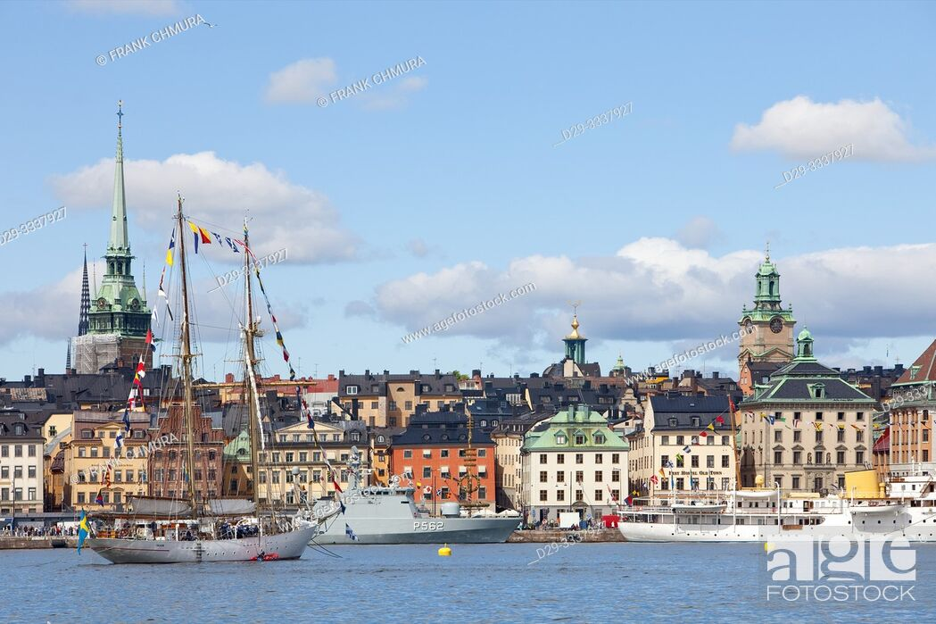 Stock Photo: Sweden, Stockholm - Boats and ships outside the Old Town.