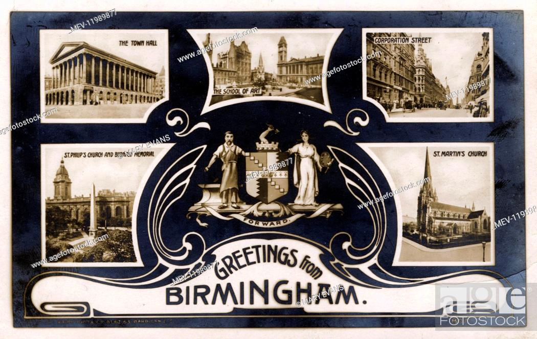 Stock Photo: Souvenir postcard, Greetings from Birmingham, West Midlands, UK, with photographs of the Town Hall, the School of Art, Corporation Street.