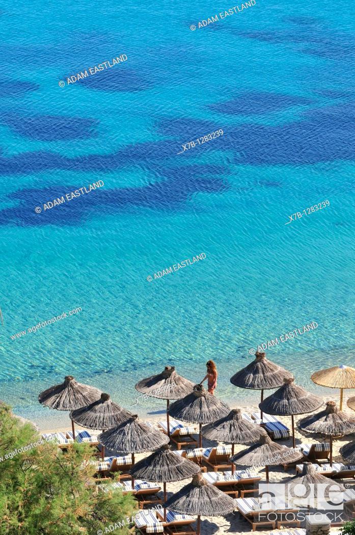 Stock Photo: Mykonos  Greece  Psarou Beach.