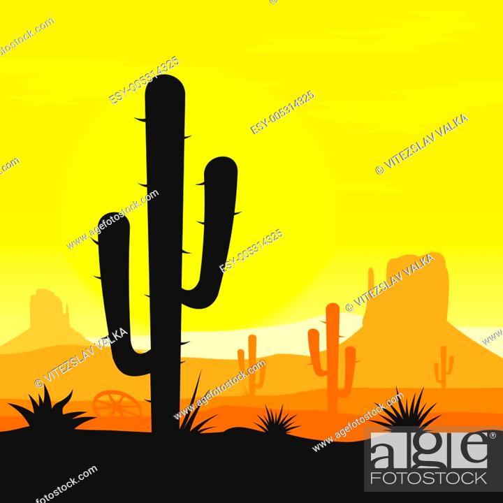 Stock Photo: Cactus plants in desert.