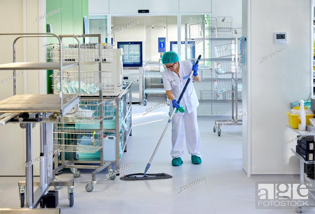 Stock Photo: Cleaning woman, cleaner, Sterilization, Autoclave Cleaning, Hospital Donostia, San Sebastian, Gipuzkoa, Basque Country, Spain.