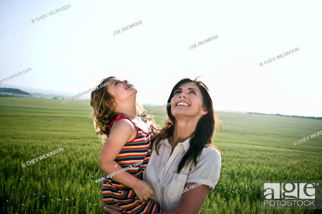 Stock Photo: Woman and child looking at sky.