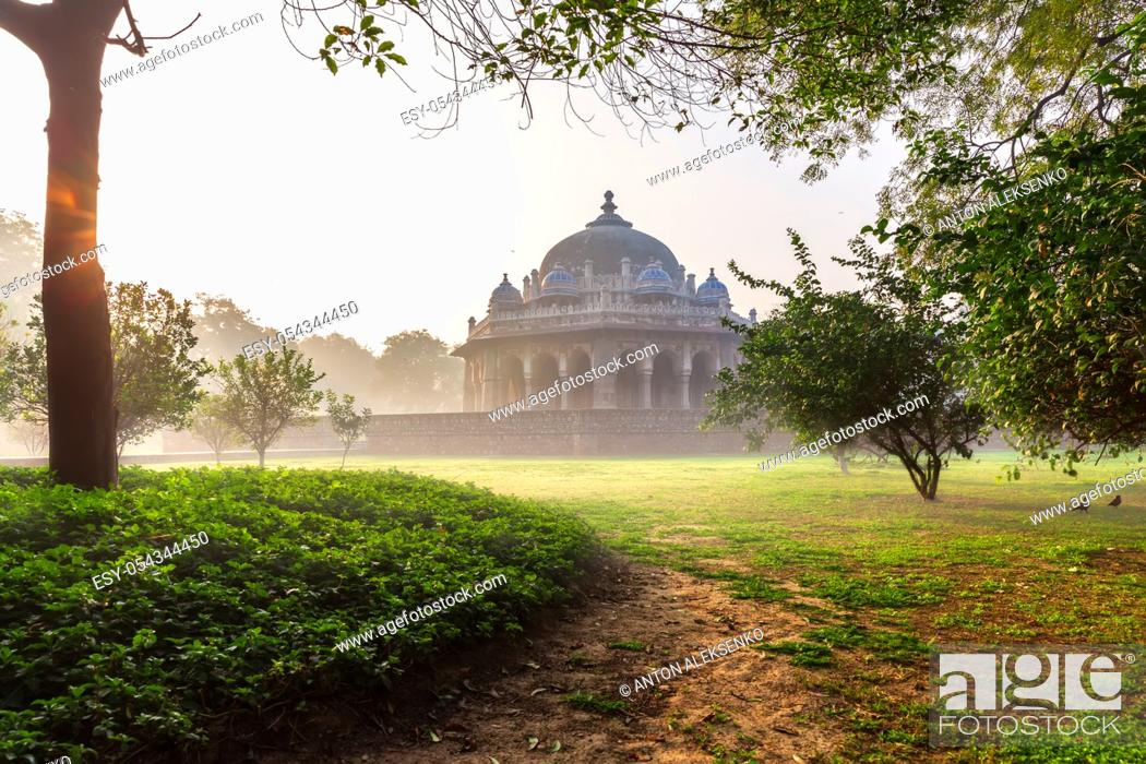 Stock Photo: Tomb of Isa Khan Niazi, located near the Mughal Emperor Humayun's Tomb complex in New Delhi, India.
