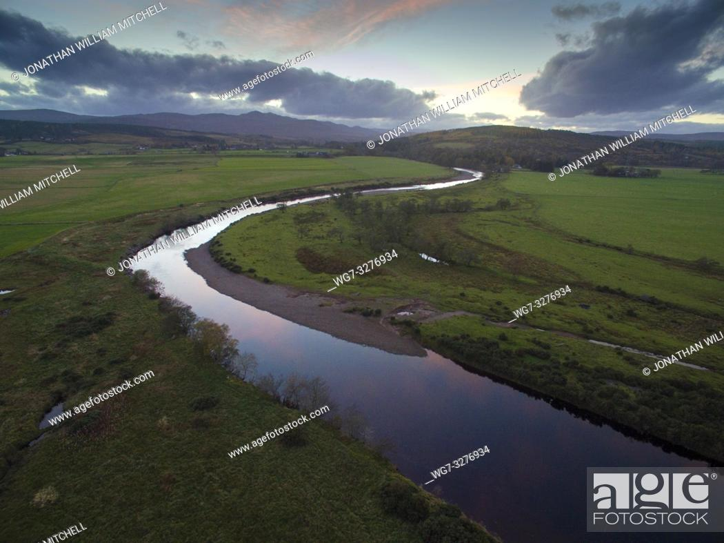 Stock Photo: BONAR BRIDGE, SUTHERLAND, SCOTLAND, UK - Nov 2018 - Aerial drone image of the River Carron at the Kyle of Sutherland at Bonar Bridge Sutherland Scotland UK -.