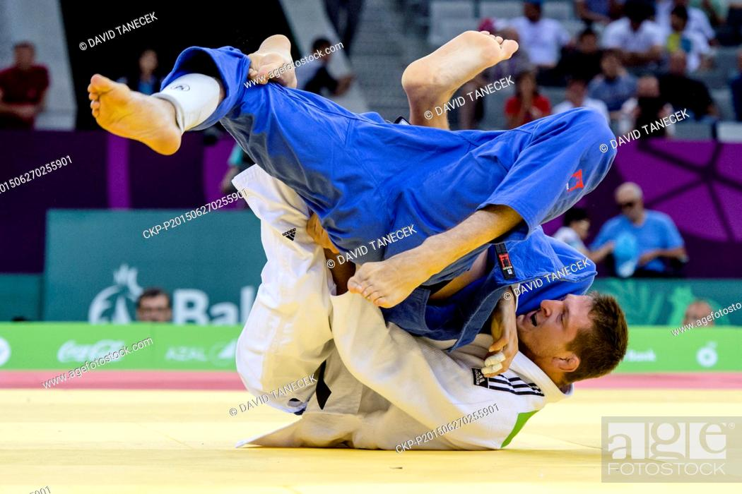 Stock Photo: Lukas Krpalek (in white) from Czech Republic and Toma Nikiforov from Belgium fight during the Men's Judo under 100kg in Heydar Aliyev Arena at the Baku 2015 1st.