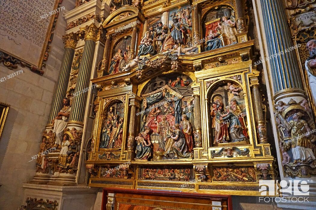 Stock Photo: San Nicolas Chapel detail of the reredos. Santa Iglesia Catedral Basílica .Metropolitana de Santa María. Burgos, Castilla y León, Spain.