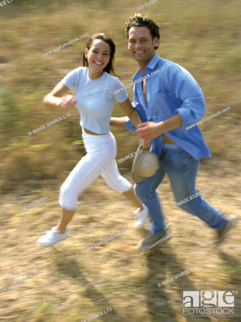 Stock Photo: Couple running.